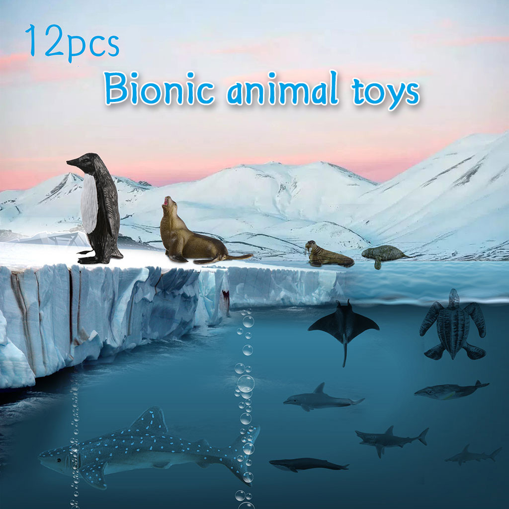 12Pcs/Set Original Ocean Animals Shark Dolphin Marine Organism Seal Sea Turtle Series Whale Simulation Model Toys For Kids Gift