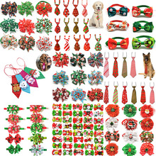 50pcs Christmas Dog Bows Pet Cat Dog Bow Tie Hair Accessories Christmas Small Dog Grooming Accessori