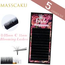 Masscaku 1 segundo florescendo fácil automático fanning flor natural volume cílios fosco sintético vison individual extensão da pestana