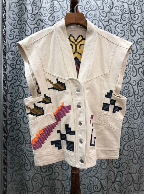Women Jacket V-neck Embroidery Pattern Color-block Stitching Decorative Buttons Cotton Sleeveless Coat