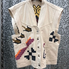 Women Jacket V-neck Embroidery Pattern Color-block Stitching Decorative Buttons