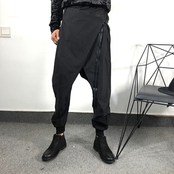 2020 trendy male personality asymmetric loose harem pants European and American hairdresser fashion simple flying squirrel pants