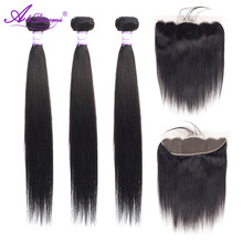Alidoremi Brazilian Straight Hair 13x4 Lace Frontal Closure with Bundles Non Remy Human Hair Closure Free Part(China)