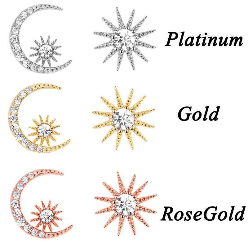 1 זוג גבירותיי אסימטרית עגילי טמפרמנט כוכב ירח אוזן פין נשים אוזן תכשיטים