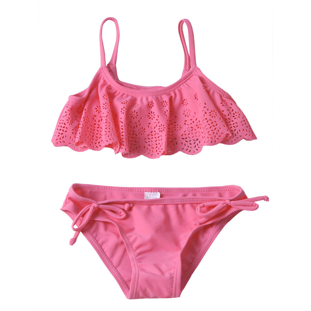 CHILDREN'S Swimwear GIRL'S Swimsuit Hollow Out Frill Bikini Set Big Boy Split Type Swimwear TZ410035