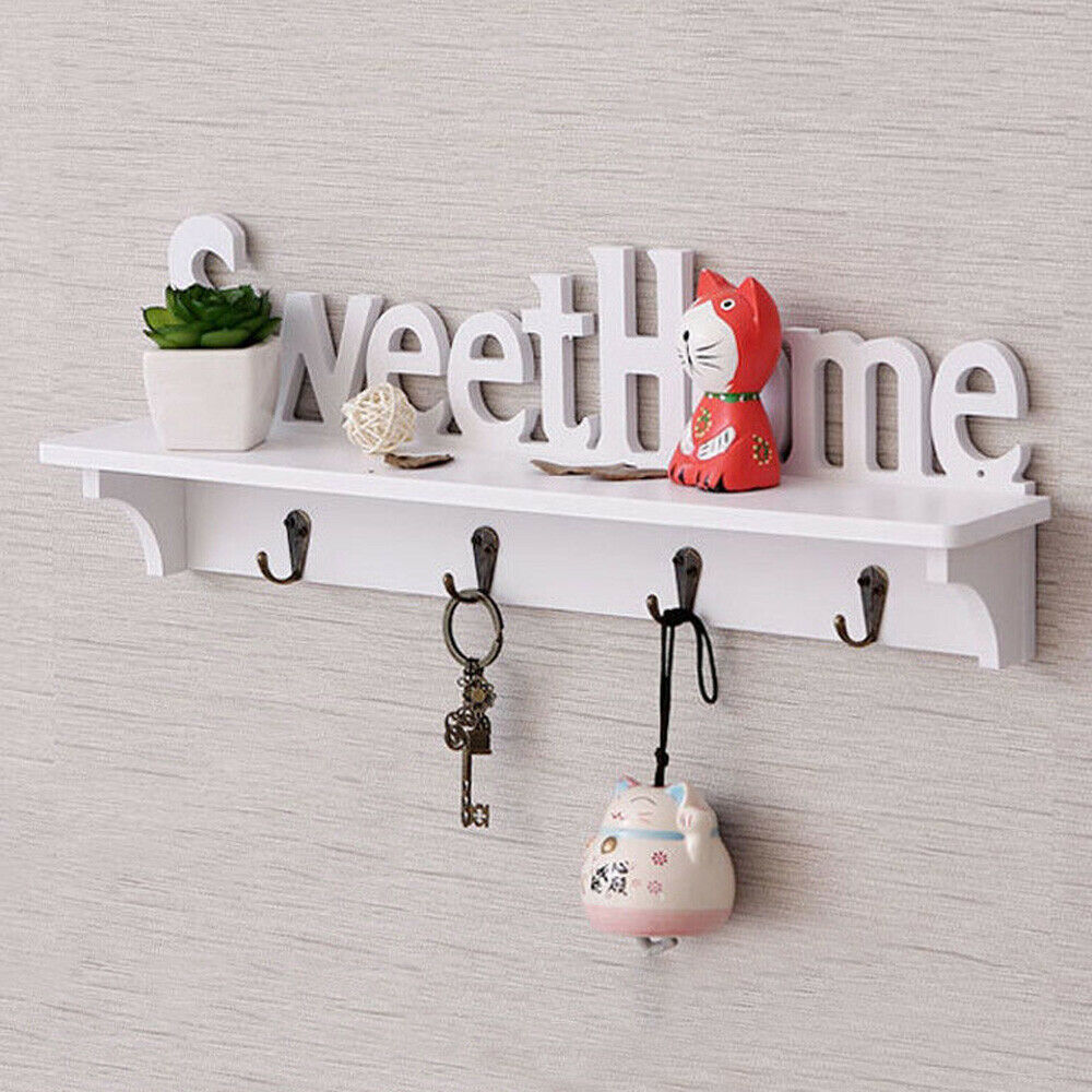 Sweet Home Key Hook Home Decoration Hanger Plastic Wood Wall Mounted Hanger Shelf/Coat Hat Clothes Rack
