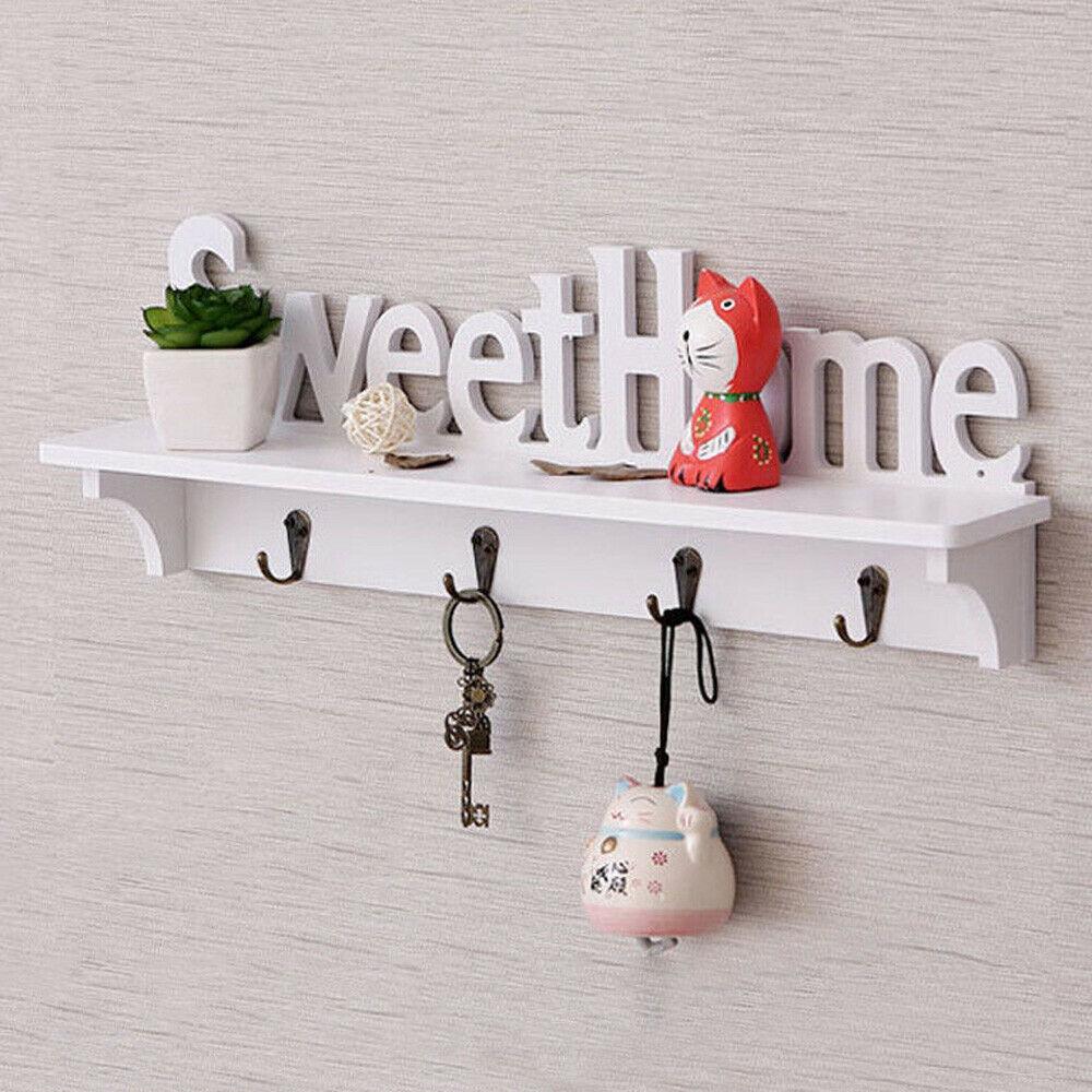 Sweet Home Key Hook Home percha decorativa de plástico de madera montado en la pared estante/abrigo sombrero estante de ropa