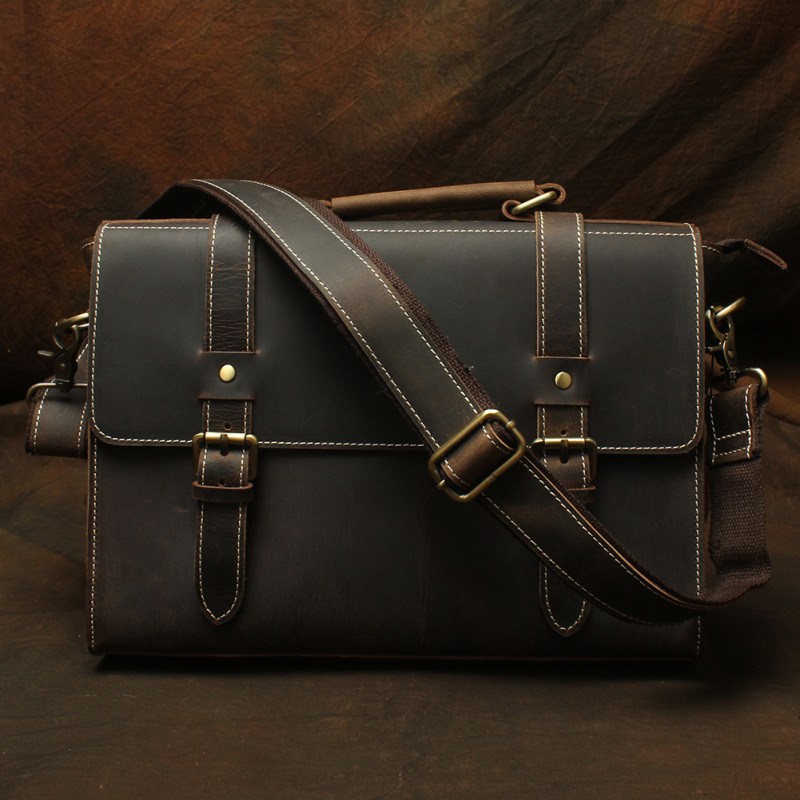 Nesitu High Quality A4 Vintage Dark Brown Thick Genuine Crazy Horse Leather Office Men Briefcase Messenger Bag Portfolio M2808