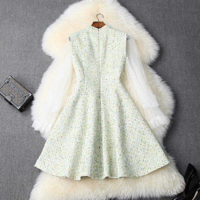 Conjunto de vestido de moda de otoño 2019 para mujer, camisa de encaje transparente Sexy para mujer + vestido de lana sin mangas con revestimiento de perlas para niñas - 2