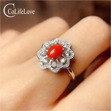 Женское кольцо из серебра 925 пробы с кораллом 5 мм х 7