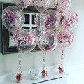 Розовый цветок украшение Рамадан 2021 10 шт. 12 дюймов золото Звездный конфетти воздушные шары из латекса с блестками Прозрачный шар помощи Муб...