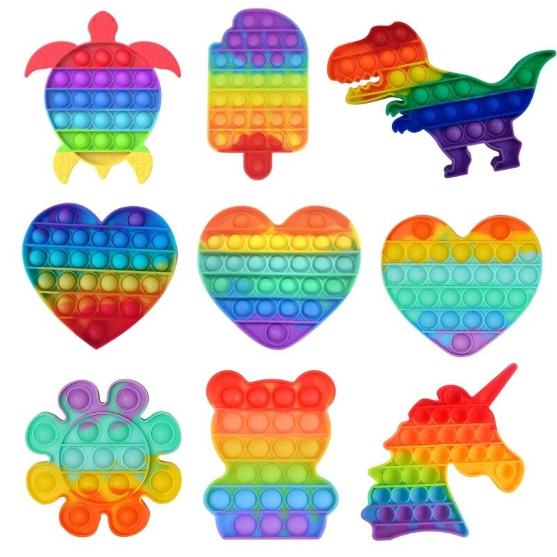 Rainbow Turtle Its Fidget Toys Push Pops Bubble Sensory Toy Pops Fidget Toy Autism Special Needs Stress Reliever Toys Brinquedos