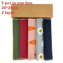 5 sztuk 2 warstwy bez użycia papieru ręczniki 7.8x7.8 Cal tkaniny bawełniane chusteczki wielokrotnego użytku do czyszczenia ręcznik papierowy Replacemet kuchnia Unpaper ręcznik
