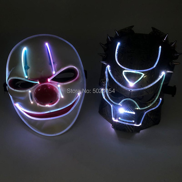 Night Glow Plastic Optical Fiber LED Face Mask Novelty Anime Cosplay Costumes DIY Kpop Accessories powered by remote control 1