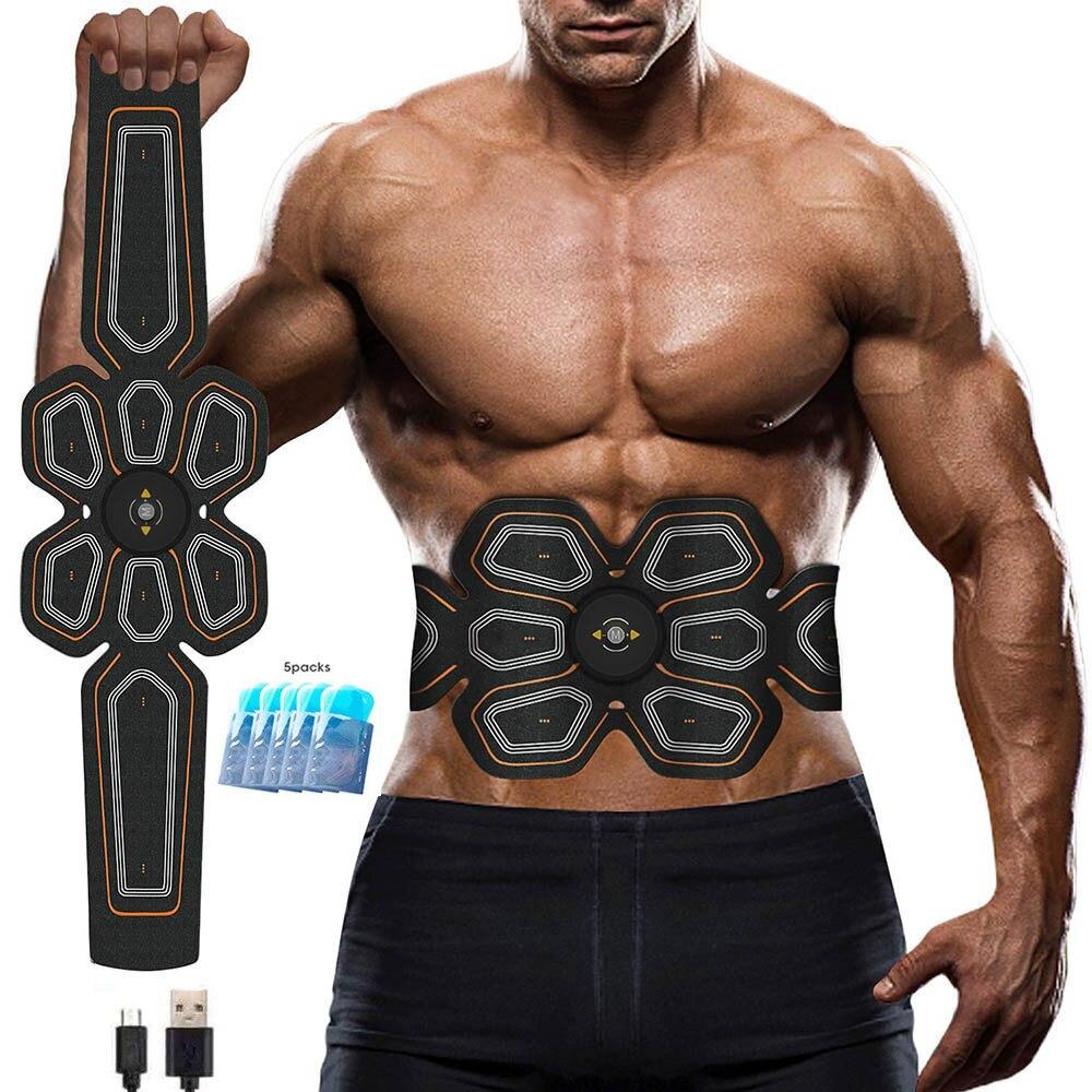 Abs estimulador muscular toner ems pressione trainer abdômen electrostimulation carga usb fitness treino em casa muscular tonificação cinto