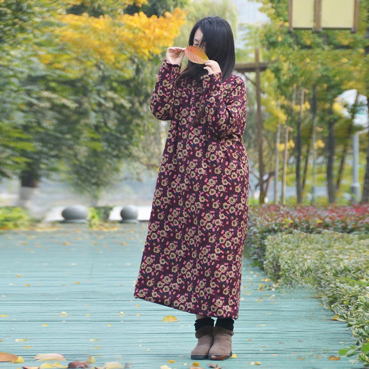 Зимнее стильное ретро маленькое цветочное хлопковое льняное Женское Платье оригинальное из чистого хлопка с набивным рисунком зимнее стильное теплое хлопковое стеганое платье