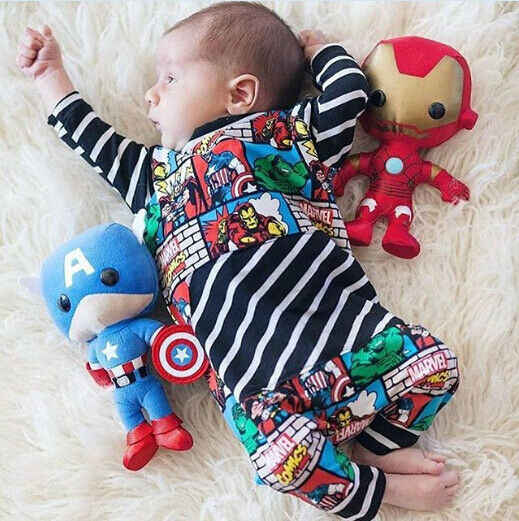 2019 herbst Neugeborenen Baby Kind Junge Outfit Kleidung Long Sleeve Striped Patchwork Superhero Spielanzugoverall