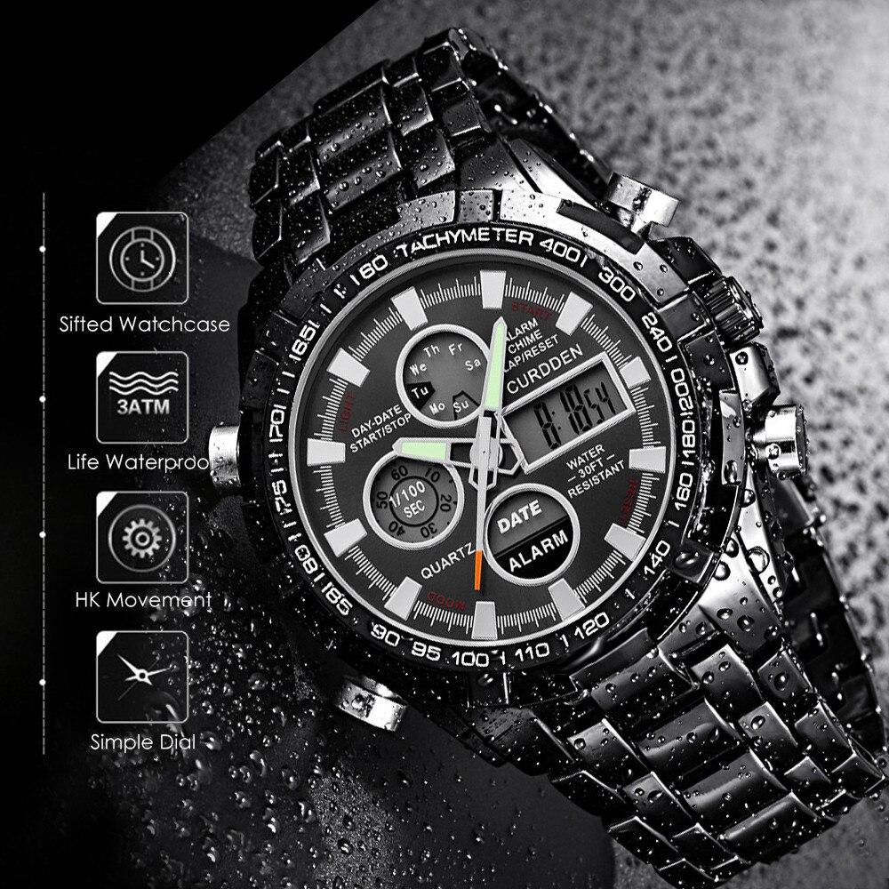 Simple Luxury Men Stainless Steel Sport Watch Dual Display Analog Digital LED  Wrist Watches Relogio Masculino часы мужские