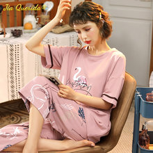 Sleepwear Cotton Summer Pajama Set Pink Elegant Flamingo Printing Cotton Plus Size 4XL 5XL Women's Homewear Big Size Pyjama Set