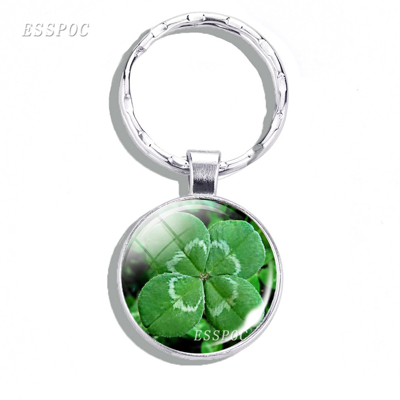 St. Patrick's Day Lucky Four Leaf Clover Keychain Glass Cabochon Metal Keychain Keyring Green Shamrock Charm Gift