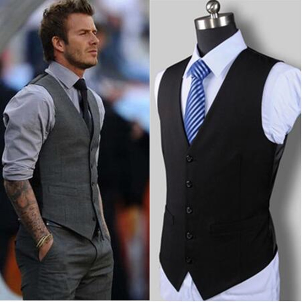 New Wedding High-quality Goods Cotton Men's Fashion Design Suit Vest / Grey Black High-end Men's Business Casual Suit Vest