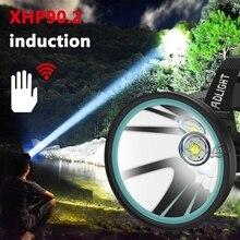 IR Sensor LED Headlamp XHP90 LED headlight USB Rechargeable Induction Head lamp Fishing Head Light Lamp Lantern 18650 battery