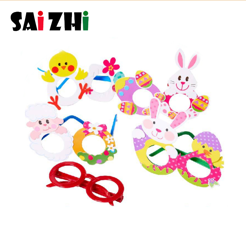 Saizhi Creative DIY Glasses Baby Kids Children DIY Glasses Frame Educational Handmade Material Puzzles Crafts Toys For Children