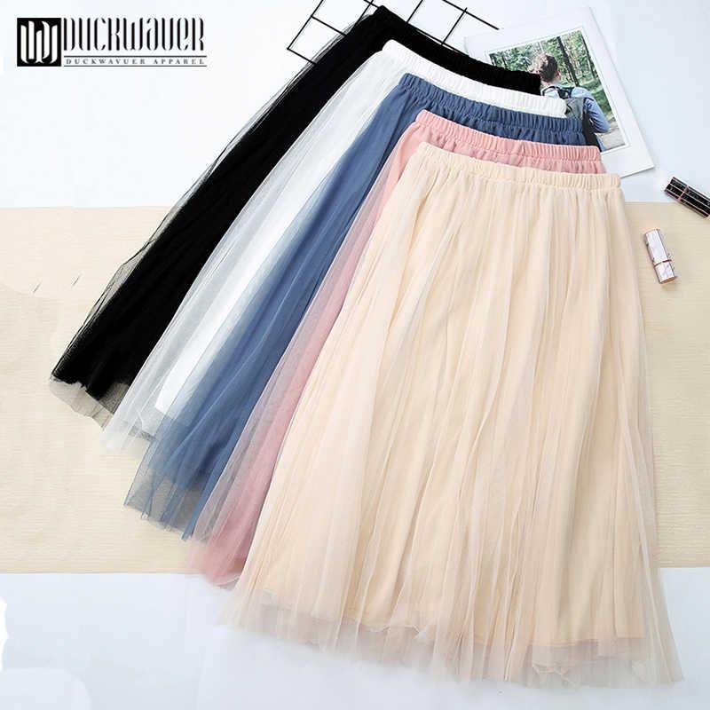 Duckwaver юбки женские s миди плиссированная юбка черная розовая юбка женские 2019 корейские демисезонные эластичные сетчатые юбки-пачки с высокой талией