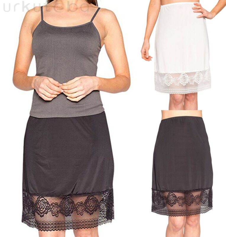 Women Elastic Waist Slip Lace Mini Skirt Ladies Solid Color Underskirt Petticoat S-XL