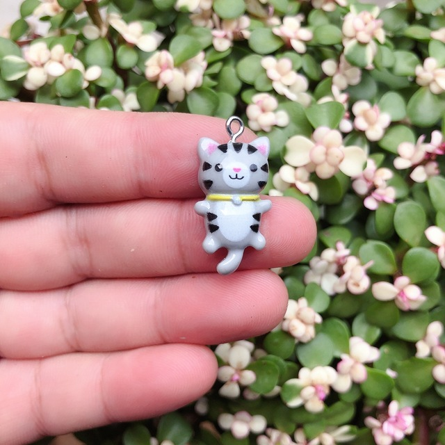 10pcs/pack Kawaii Cat Charms Pendants for Jewelry Making Animal Resin Charms Jewlery Findings DIY Craft 3