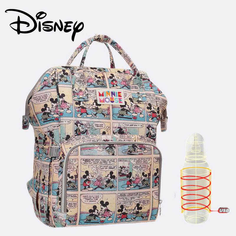 Disney Diaper Bag USB Oxford Insulation Bags Bottle Feeding Storage Baby Care Bag Backpack For Travel Large Capacity Waterproof