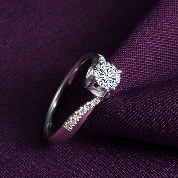 Authentic 18k White Gold Diamond Ring Platinum Rose Gold One Carat Marriage Seeking Couple Diamond Ring 3