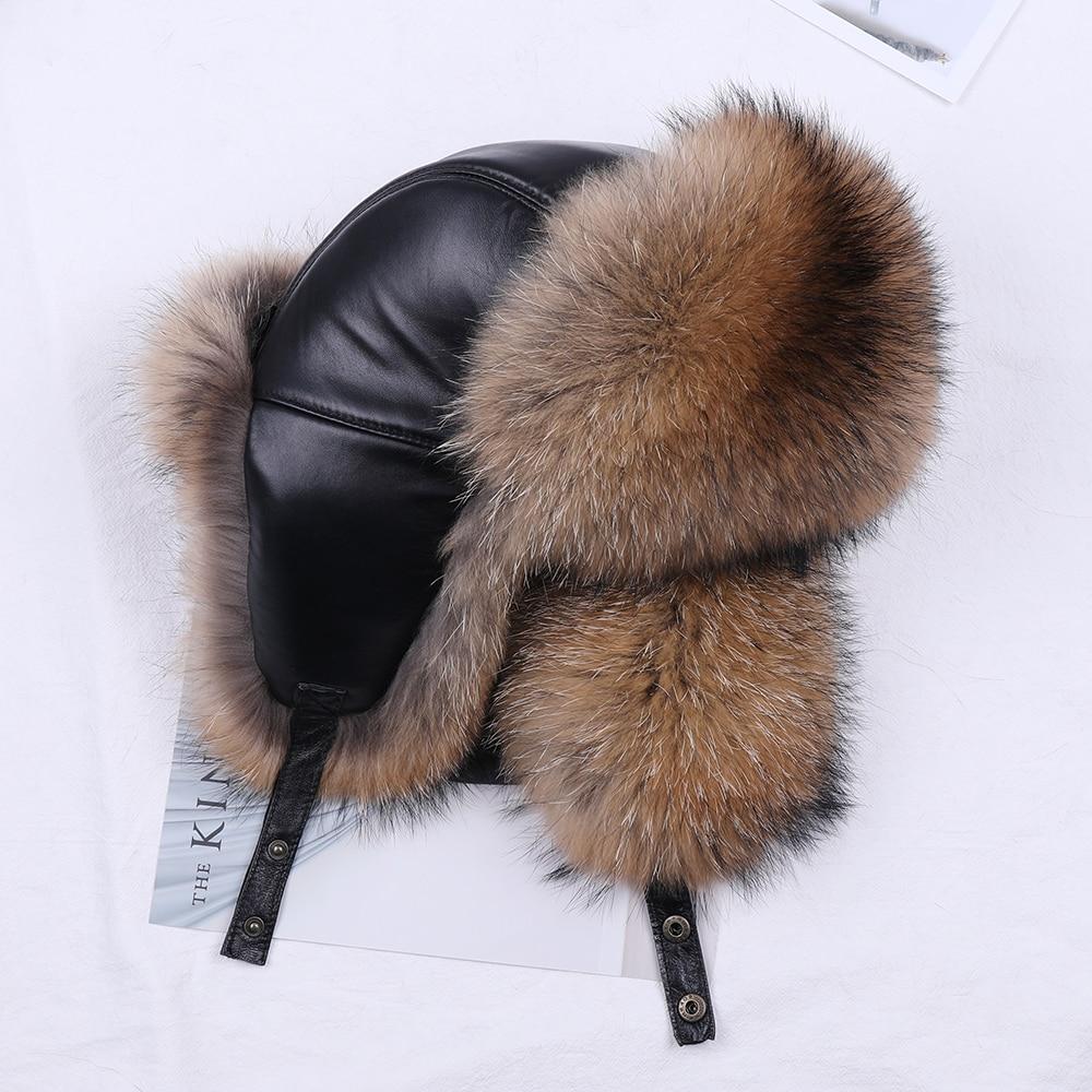 2019 Winter Men's 100% Real Silver Fox Fur Bomber Hat Raccoon Fur Ushanka Cap Trapper Russian Man Ski Hats Caps Real Leather