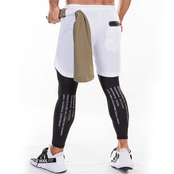 Running Sweatpants Men Shorts And Leggings 2in1 Sportswear Gym Joggers Pants Drawstring Waist Casual Pants Zipper Sport Trousers 1