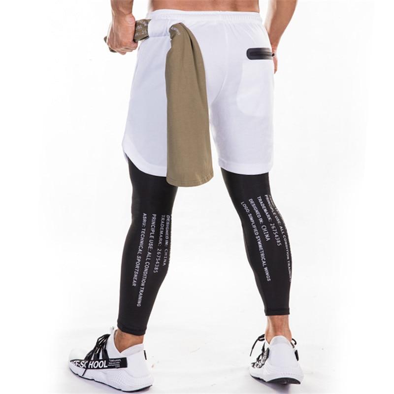 Running Sweatpants Men Shorts And Leggings 2in1 Sportswear Gym Joggers Pants Drawstring Waist Casual Pants Zipper Sport Trousers