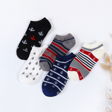 5pairs/lot Fashion Cotton Men Socks Stripe Anchor Short Man Funny Casual Autumn Calcetines Meias