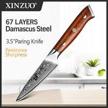 XINZUO-cuchillo pelador de frutas de acero japonés Damasco VG10, 3,5 pulgadas, muy afilado, con mango de palisandro