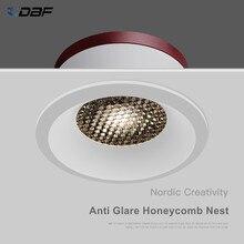 [DBF]2020 nouveau nid d'abeille Anti-éblouissement lentille encastré LED Downlight 5W 7W 12W 15W Dimmable LED plafond Spot lumière Pic fond