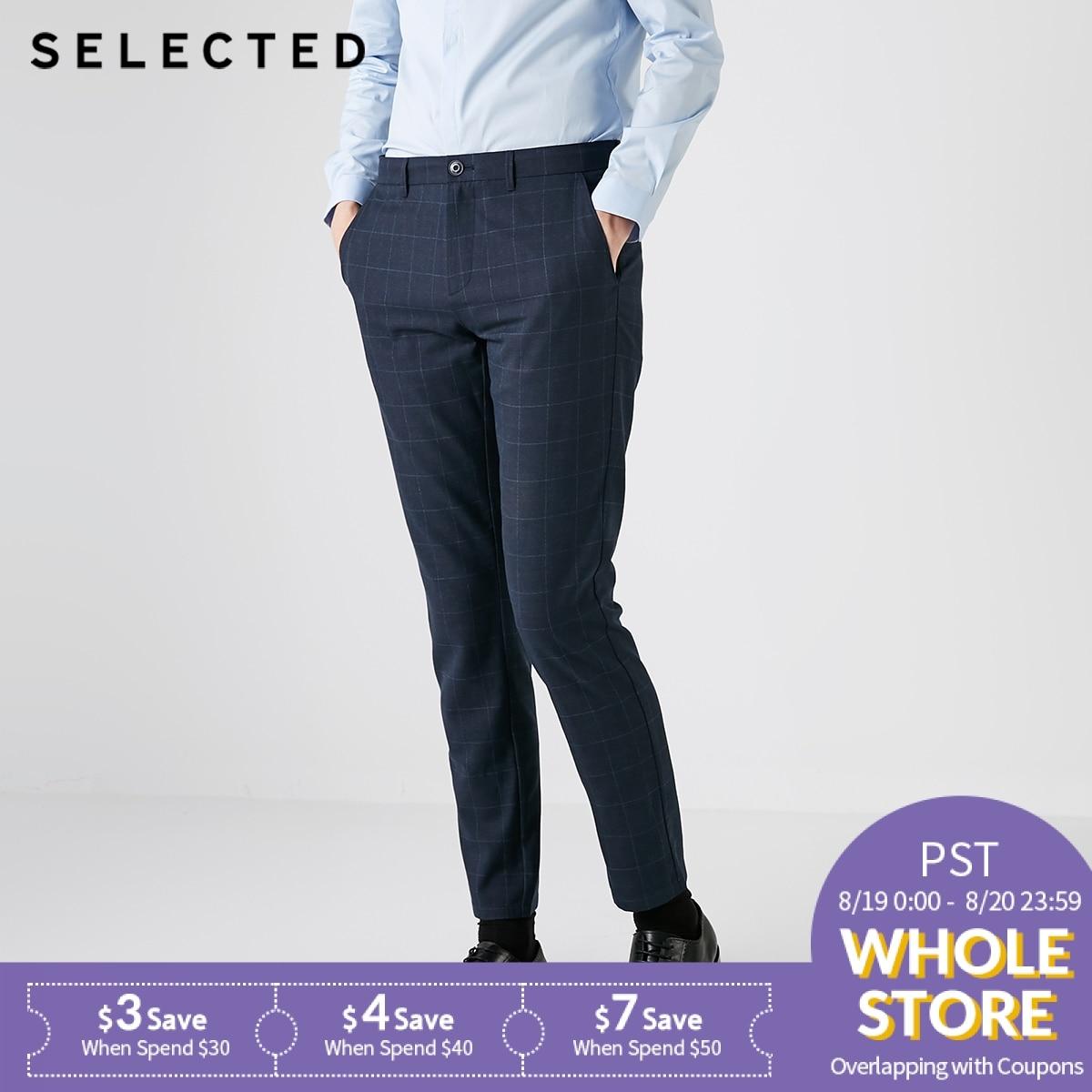 SELECTED Men's Autumn Slim Fit Plaid Casual Pants S|418314558