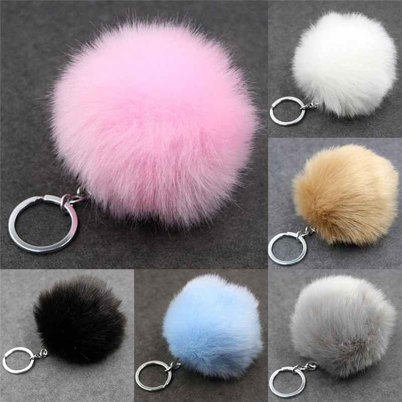Faux Kelinci Bulu Bola Pom Pom Fluffy Porte Clef Llaveros Gantungan Kunci untuk Tas Gesper Logam Gantungan Kunci