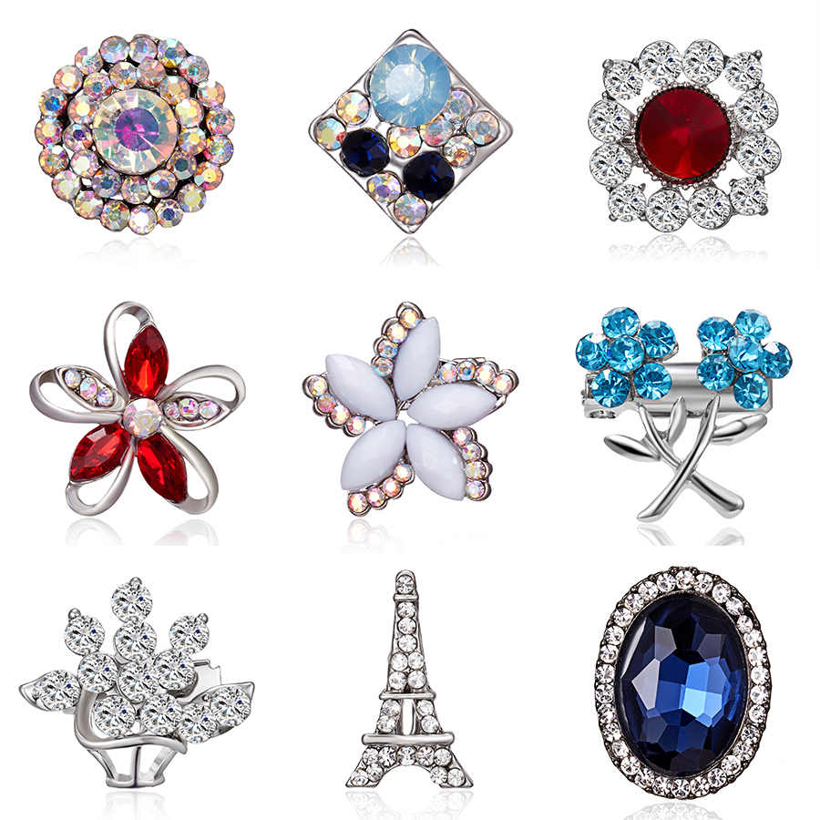 Elegant Geometric Hollow Glass Flower Rhinestone Small Brooch Crystal Small Cute Pins for Women Wedding Bouquets Jewelry Gifts