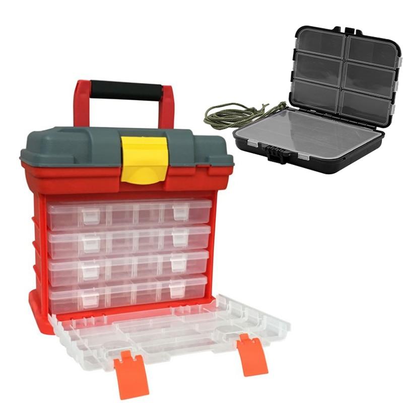 Multifunction 4 Layers Plastic Box Large Fishing Box Screw Parts Storage Box Storage Fishing Lures Box Accessories Tool Box