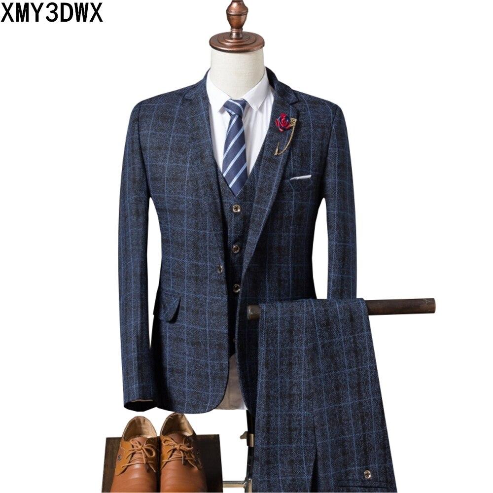 Мужской костюм, новинка 2019, мужской Клетчатый костюм, 3 предмета, классические клетчатые костюмы, мужские деловые свадебные костюмы, облегающие мужские вечерние костюмы Tuexdo - 4