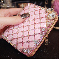 Women Wallet Crystal Card Holder Luxury Coin Purse Pink Leather Handmade Party Coin Purse Fashion Small Handbag Mini Clutch Bags