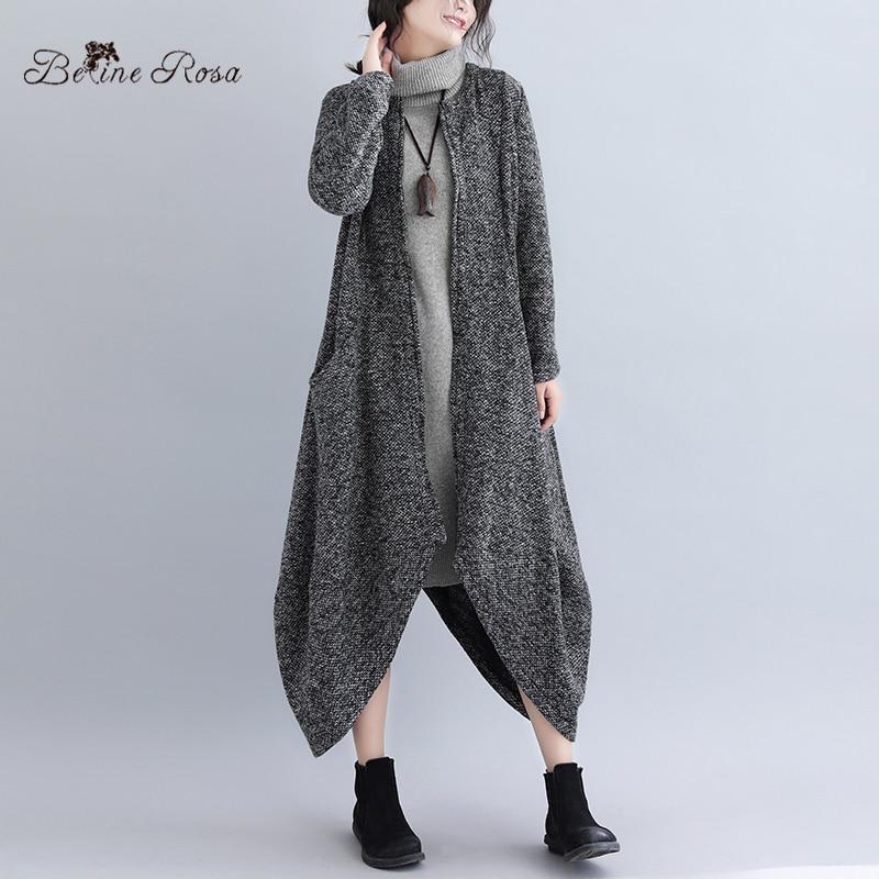 BelineRosa 2019 Autumn Winter Irregular Design Women's   Trench   Coat Knitting Loose Long Coats Female YPYX0022
