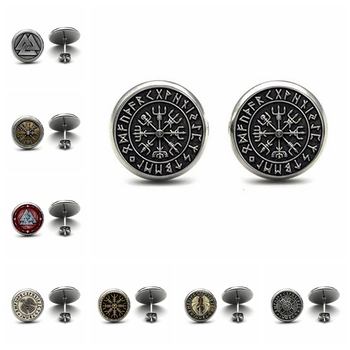 2020 Fashion new Viking Norse Studs Earrings Viking Jewelry Vegvisir Viking Glass Cabochon Girl Earrings Handmade gift image