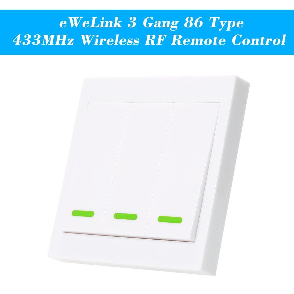 EWeLink bouton poussoir interrupteur de lumière murale télécommande 3 Gang 86 Type panneau commutateur maison intelligente 433MHz sans fil RF télécommande