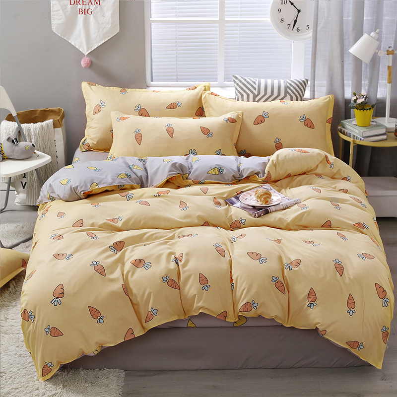 Peach Linen Bedding Set Double Sided Bed sheets