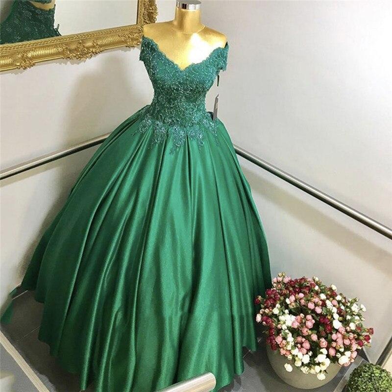 Green Satin Evening Prom Long Gown Vestidos De Festa Vestido Longo 2020 Off The Shoulders Ball Gown Mother Of The Bride Dresses
