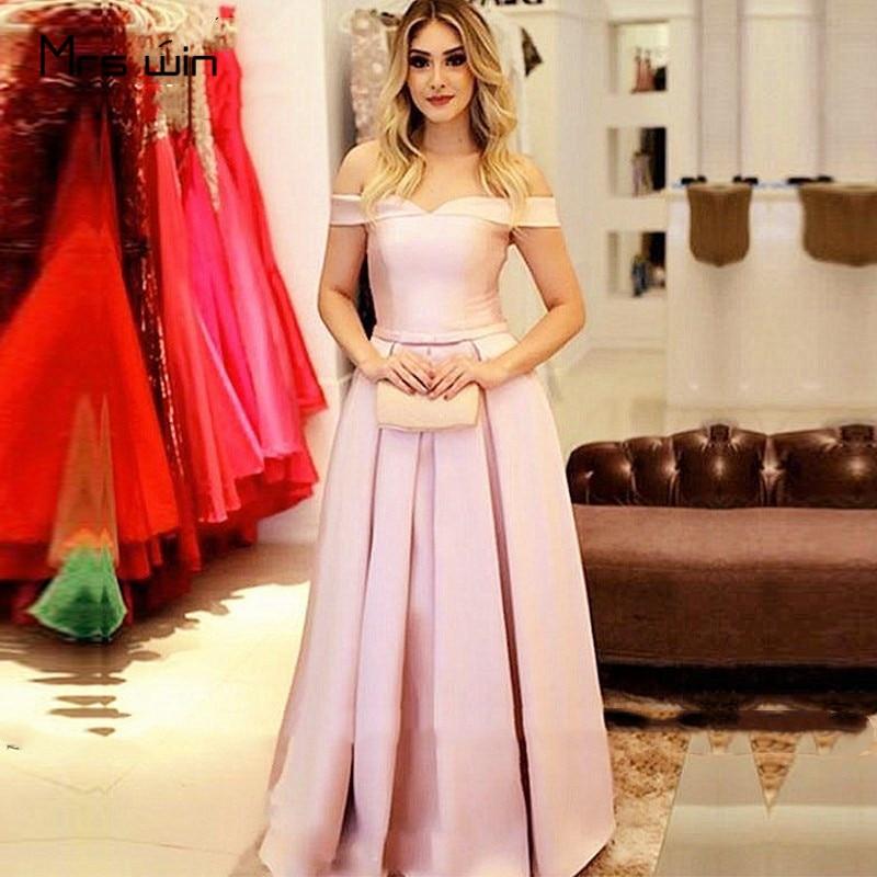 Mme gagner robe de Soirée Rose Col Bateau robe de Soirée En Satin robes de grande taille Col Bateau Robes de Soirée Longue A-ligne robe de soirée HR413